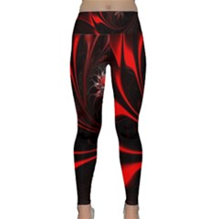 Red Black Abstract Curve Dark Flame Pattern Lightweight Velour Classic Yoga Leggings by Nexatart