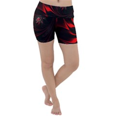 Red Black Abstract Curve Dark Flame Pattern Lightweight Velour Yoga Shorts