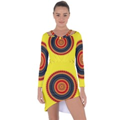 Art Decoration Wallpaper Bright Asymmetric Cut Out Shift Dress