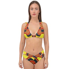 Art Decoration Wallpaper Bright Double Strap Halter Bikini Set