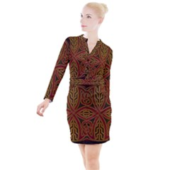 Beautiful Art Pattern Button Long Sleeve Dress by Nexatart