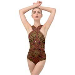 Beautiful Art Pattern Cross Front Low Back Swimsuit by Nexatart