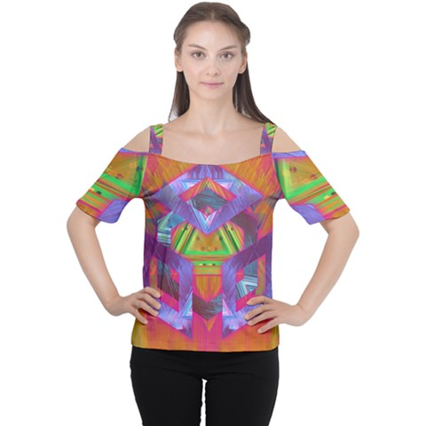 Glitch Glitch Art Grunge Distortion Cutout Shoulder Tee by Nexatart