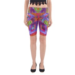 Glitch Glitch Art Grunge Distortion Yoga Cropped Leggings