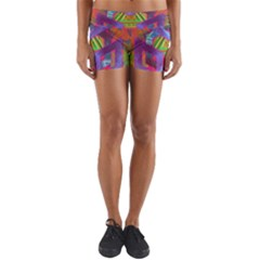 Glitch Glitch Art Grunge Distortion Yoga Shorts by Nexatart