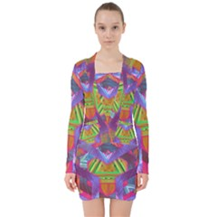 Glitch Glitch Art Grunge Distortion V-neck Bodycon Long Sleeve Dress by Nexatart