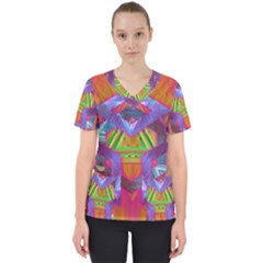 Glitch Glitch Art Grunge Distortion Women s V Neck Scrub Top by Nexatart