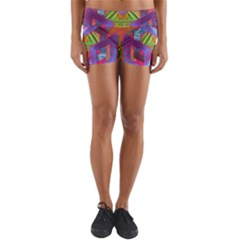 Glitch Glitch Art Grunge Distortion Lightweight Velour Yoga Shorts by Nexatart