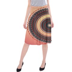 Ornamental Shape Concentric Round Midi Beach Skirt