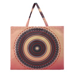 Ornamental Shape Concentric Round Zipper Large Tote Bag