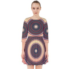 Ornamental Shape Concentric Round Smock Dress