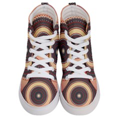 Ornamental Shape Concentric Round Men s Hi Top Skate Sneakers