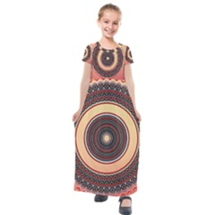 Ornamental Shape Concentric Round Kids  Short Sleeve Maxi Dress