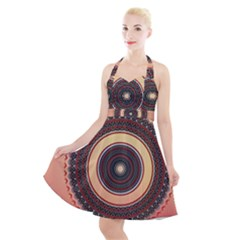 Ornamental Shape Concentric Round Halter Party Swing Dress