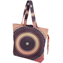 Ornamental Shape Concentric Round Drawstring Tote Bag