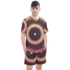 Ornamental Shape Concentric Round Men s Mesh Tee And Shorts Set