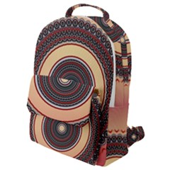 Ornamental Shape Concentric Round Flap Pocket Backpack (small)