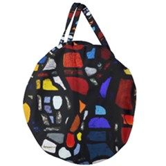 Art Bright Lead Glass Pattern Giant Round Zipper Tote