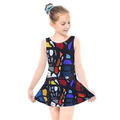 Art Bright Lead Glass Pattern Kids  Skater Dress Swimsuit