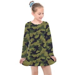 Camouflage 04 Kids  Long Sleeve Dress by quinncafe82