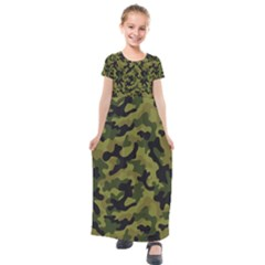 Camouflage 04 Kids  Short Sleeve Maxi Dress by quinncafe82