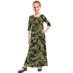 Camouflage 04 Kids  Quarter Sleeve Maxi Dress by quinncafe82