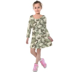 Camouflage 03 Kids  Long Sleeve Velvet Dress by quinncafe82