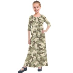 Camouflage 03 Kids  Quarter Sleeve Maxi Dress by quinncafe82