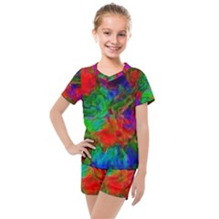 Color Art Bright Decoration Kids  Mesh Tee And Shorts Set