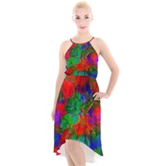 Color Art Bright Decoration High Low Halter Chiffon Dress