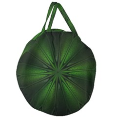 Green Fractal Art Artistic Pattern Giant Round Zipper Tote