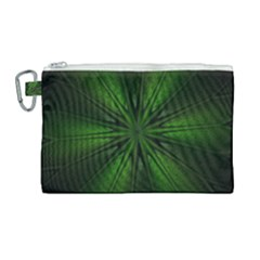 Green Fractal Art Artistic Pattern Canvas Cosmetic Bag (large) by Nexatart