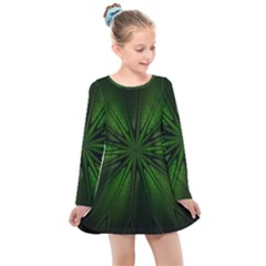Green Fractal Art Artistic Pattern Kids  Long Sleeve Dress