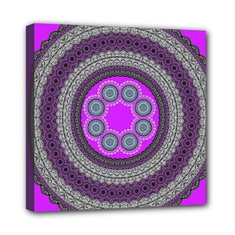 Round Pattern Ethnic Design Mini Canvas 8  X 8  (stretched)