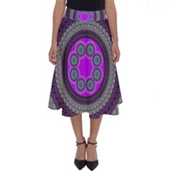 Round Pattern Ethnic Design Perfect Length Midi Skirt