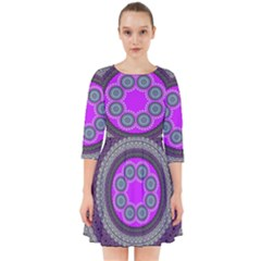 Round Pattern Ethnic Design Smock Dress