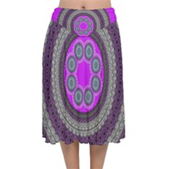 Round Pattern Ethnic Design Velvet Flared Midi Skirt