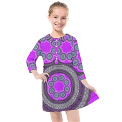 Round Pattern Ethnic Design Kids  Quarter Sleeve Shirt Dress