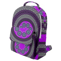 Round Pattern Ethnic Design Flap Pocket Backpack (small)