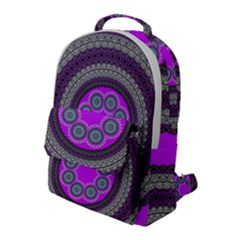 Round Pattern Ethnic Design Flap Pocket Backpack (large)