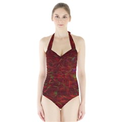 Abstract Pattern Color Shape Halter Swimsuit by Nexatart