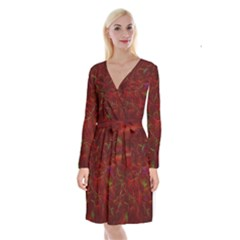 Abstract Pattern Color Shape Long Sleeve Velvet Front Wrap Dress