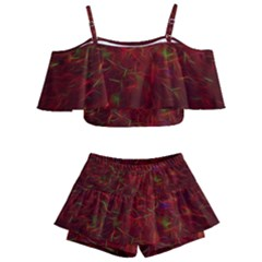 Abstract Pattern Color Shape Kids  Off Shoulder Skirt Bikini
