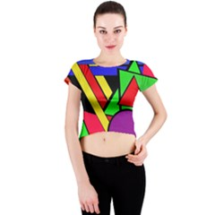 Background Color Art Pattern Form Crew Neck Crop Top