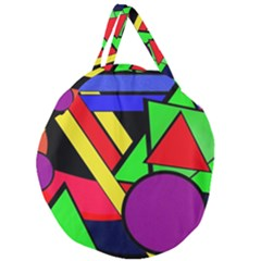 Background Color Art Pattern Form Giant Round Zipper Tote