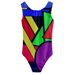 Background Color Art Pattern Form Kids  Cut Out Back One Piece Swimsuit