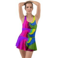 Art Abstract Pattern Color Ruffle Top Dress Swimsuit