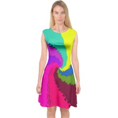 Art Abstract Pattern Color Capsleeve Midi Dress