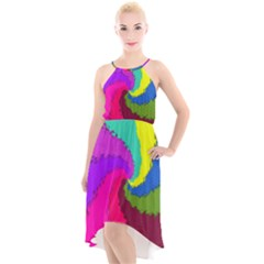 Art Abstract Pattern Color High Low Halter Chiffon Dress