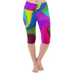 Art Abstract Pattern Color Lightweight Velour Cropped Yoga Leggings by Nexatart
